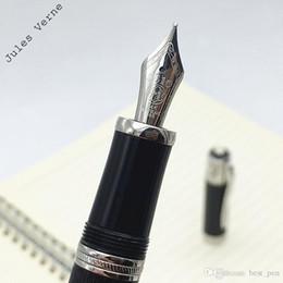 Ingrosso Penna stilografica Iraurita di alta qualità Nero di lusso MB Grande scrittore Jules Verne penna stilografica in edizione limitata 14873/18500