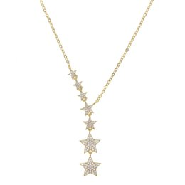 cz chains Australia - Christmas gift star necklace lariat choker various sized cz bead charm link chain gorgeous european women jewelry