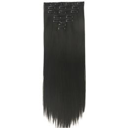 $enCountryForm.capitalKeyWord UK - 7pcs set 24'' Long Straight Black Blonde Hair High Tempreture Fiber Synthetic Hair Pad Clip In Hair Full Head