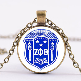 $enCountryForm.capitalKeyWord NZ - Foreign trade hot sale Zeta Phi Beta glass dome alloy pendant necklace Europe and the United States creative personality accessories