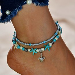 anklet NZ - Vintage Beads Anklets Shell Turtle Starfish for Women Multi Layer Handmade Foot Anklet Chain Bracelet Bohemian Beach Jewelry