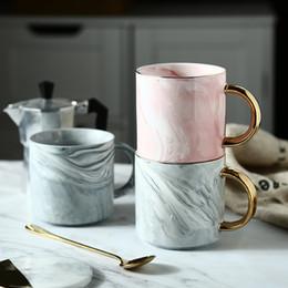 Mug Cup Print Australia - 400ml New Handpainted Gold Mugs Ceramic Tea Milk Cup Marble Porcelain Coffee Mug Lady Gentle Man Printed Creative Wedding Gift