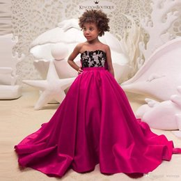 Cheap Christmas Ties NZ - Cheap Fuchsia A Line Sweetheart Flower Girls Dresses for Wedding Bow Tie Long Train Toddler Pageant Dress Satin Kids Prom Gowns