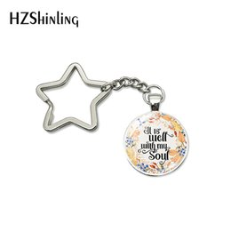 $enCountryForm.capitalKeyWord Australia - Fashion Be Strong and Couragerous Do Not Be Afraid Star Keychain Bible Verse Quote Jewelry Glass Cabochon Car Key Chains Keyring