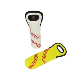 $enCountryForm.capitalKeyWord Australia - Neoprene Wine Bottle Holder 750ml Baseball Single Pack Ball Pattern Lily Cover Bag Hand Made Sleeve Yellow White 5 8ny p