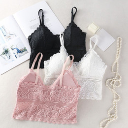 embroidery lace clothing wholesale Canada - Women Underwear Tops Sexy Embroidery Floral Tanks Wireless Bra Deep V-Neck Lace Bras Summer Clothing