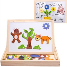 painting puzzles Australia - Drawing Writing Board Magnetic Puzzle Double Easel Kid Wooden Toy Sketchpad Gift Children Intelligence Education Development Toy