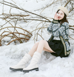 large canvas prints black white NZ - YMECHIC Large Size 35-44 Womens Platform Wedges Snow Boots White Black Warm Fur Thicker Cotton Winter Shoes Woman Footwear 2019