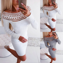 Womens Bodycon Magro manga comprida malha Jumper Party Club Mini vestido de camisola