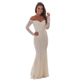 928f30ca4a3 White Lace Mermaid Maxi Australia - Spring Woman Party Long Sleeve Dress  Sexy White Crochet Lace