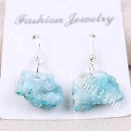 raw agate NZ - 10Pairs 10-25mm Freeform Dyed Color Brazilian Agate Druzy Geode Earrings Raw Rough Drusy Quartz Crystal Cluster Dangle Statement Earrings