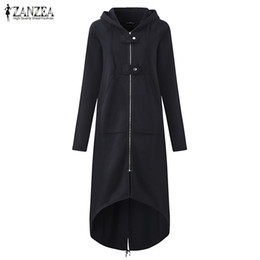 back coating UK - Female Hooded Sweatshirt Zipper Up Slit Back Long Sleeve Loose Solid Asymmetrical Women Fleece Hoodies Coats