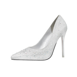 womens pink shoes heels UK - 2019 New Fashion Elegant Fine With High-heeled Shallow Mouth Was Thin Pointed Diamond Rhinestone Wedding Shoes Womens Shoes