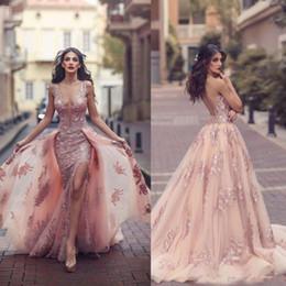 $enCountryForm.capitalKeyWord UK - Saudi Arabic Blush Pink Evening Dresses with Detachable Train Sheer Illusion Bodice Lace Applique Mermaid Long Side Split Prom Dress