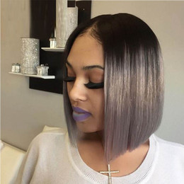 Gray hair wiGs online shopping - Human Hair Lace Front Wigs Colored Silver Gray Short Bob Virgin Peruvian Straight Grey Pre Plucked Cheap Full Lace Wig For White Women