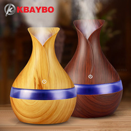 electric aromatherapy diffuser light UK - KBAYBO 300ml USB electric Aroma Essential Oil Diffuser Ultrasonic Air Humidifier Wood Grain LED Lights aroma diffuser for home Y200111