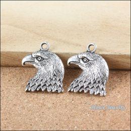 Silver Eagle Bracelet Australia - 200pcs Vintage Charms eagle Pendant Antique silver Fit Bracelets Necklace DIY Metal Jewelry Making B015