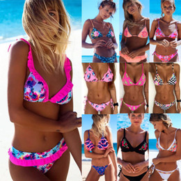 Hot Women Swimsuits Australia - 2018 New Flower Bikinis Set Combinatorial Set Sexy Women Swimwear Push Up Padded Neon Bandage Swimsuits Hot Selling Bathing Suit