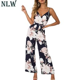 romper jumpsuit bohemian Australia - Nlw Boho Floral Summer Jumpsuit V Neck Strap Sexy Long Romper Women Chiffon 2019 Beach Party Overalls Playsuit Overalls MX190726