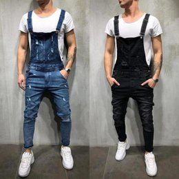 36b86e034789 Mens Cool Skinny Overalls Homme Street Style Denim Cargo Pants for Male  Work Trousers Jumpsuits Rompers Bib Pants Men