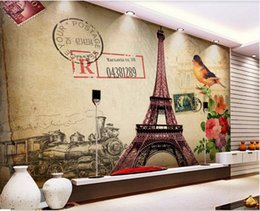 kitchen anti oil stickers UK - 3d wallpaper custom wall stickers European and American oil painting retro Paris tower TV background wall home decor wall art 3d stickers
