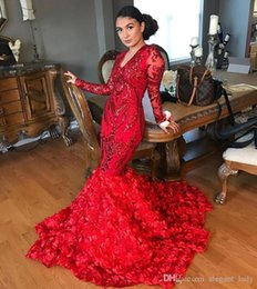 3d dress NZ - Red Sequins Applique Mermaid Prom Pageant Dresses with Long Sleeve 2019 Sexy 3D Floral Flowers African Occasion Prom Party Gown