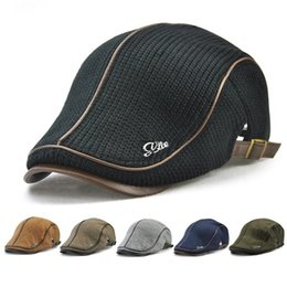 f397e2d388312 Man s Knitted PU Leather Beret Hat Knitting Buckle Paper Boy Newsboy Cabbie  Gentleman Visor Cap Casual Warm