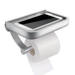 Paper Roll Dispensers Australia - HOMEMAXS Wall Mount Toilet Paper Holder Aluminum Tissue Paper Holder Toilet Roll Dispenser With Phone Storage Shelf for Bathroom
