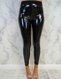 ce7325385be18 Shiny Faux Leather Leggings Australia - Womens Faux Leather Long Pants  Ladies Soft Strethcy Shiny Wet