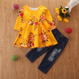 christmas clothes Australia - kids clothing girl Christmas style yellow long sleeve tops +jeans pant sets two-piece sets girl clothes