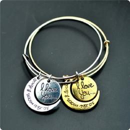 $enCountryForm.capitalKeyWord NZ - Fashion Alex Bracelet Expandable Wire Bangle Chinese knot Golden Plated Bracelets Jewelry I Love You to the Moon and Back Charm Bracelets