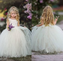 $enCountryForm.capitalKeyWord NZ - Fast Delivery Ball Gown Jewel Sweep Train Tulle Bow Back Flower Girls Dresses Appliques Lace New Arrival Pageant Girls Communicate Gowns