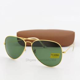 Scratch Glasses Lens Canada - 10pcs New Arrival Designer Pilot Sunglasses For Men Women Sun Glasses Eyewear Gold Metal Frame Green 58mm UV400 Glass Lenses With Case