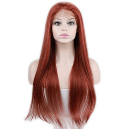 35 Hair UK - #35 Color Lace Front Human Hair Wigs Brazilian Human Hair Wig Straight with Baby Hair Pre Plucked Lace Wig for Women