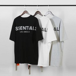 Wholesale black cotton short sleeve top for sale – custom Fear of God Fog Essentials Men T Shirts Summer T Shirt Men letter printing Short Sleeve Casual Cotton Tops Tees