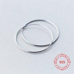 Опт Высокое качество стерлингового серебра 925 пробы 50 мм круг Серьги-обручи серьги модные подарки гипербола большой Серьги