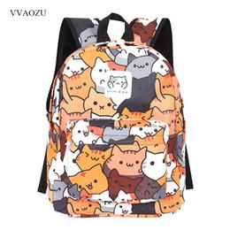 Cute Anime Cartoon Australia - Anime Neko Atsume Women Backpack Cartoon Mochila For Girls Boys Travel Rucksack Cute Cat Printing Shoulder Bag For Teenage Y19061204