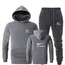 54588f25 Tracksuit Men Brand Print Sportswear Suit Winter Keep Warm Fleece Pants+ Hoodies Track Suit Black White Chandal Hombre Size M-2XL