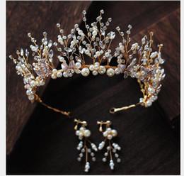 Toast Suits Australia - Korean New Handmade Beaded crown Earrings suit crown wedding dress toast dress hair accessories