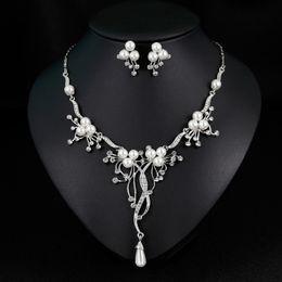 $enCountryForm.capitalKeyWord Australia - Crystal Necklace Earrings Sets for Wedding Bridal Silver Plated Rhinestone Pearl Fashion Jewelry Set Trend Jewellery for Women Girls Lady