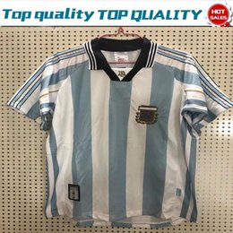 Uniform shirts for men online shopping - 1998 Retro version Argentina Home Soccer Shirt For Adult Short Sleeve Football Jersey National Team Customize Game Uniforms Size S XL