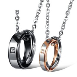 $enCountryForm.capitalKeyWord Australia - Trendy His & Hers Matching Set Titanium Stainless Steel Cubic zircon Couple Love Heart Pendant Necklace for Men Women jewelry