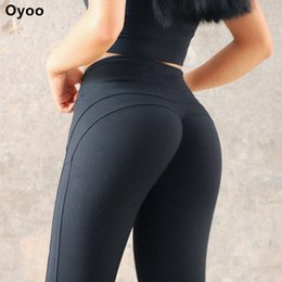 Lined Leggings Australia - Oyoo Solid Booty Up Sports Legging Women's Compression Thigts M Line Butt Lift Workout Leggings Hip Push Up Stretch Yoga Pants C19040301