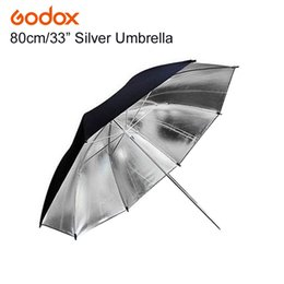 "Discount photography reflector stand - reflector Godox 33"" Inch 83cm Pro Photography Reflector Black Silver Umbrella for Photo Video Flash Studio Lamp Li"