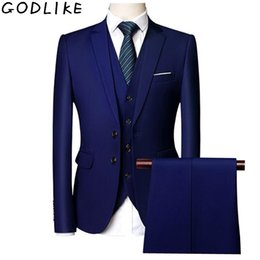 Red casual blazeRs foR men online shopping - Wedding Suits For Men Slim Fit Men s Business Casual Groom Suits Formal Burgundy Green Purple Yellow Red White Man Suit XL XL SH190916