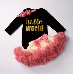 Discount xl girls tutu - kids ins romper Baby Girls Long Sleeve Tops Romper Tulle Tutu Skirt Dress Outfits with headband LJJK1175