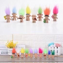 Diy Boys Toys UK - HOT Sale Colorful Hair Troll Doll Family Members Dad Mum Baby Boy Girl Dam Trolls Toy Gift Happy Love Family