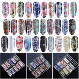 $enCountryForm.capitalKeyWord Australia - 10 Rolls Box DIY Colorful Flower Holographic Flowers Mix Design Nail Foil Wraps Transfer Nail Stickers Art Decorate Set