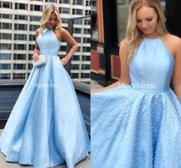 c7c17176e8 2019 Elegant Prom Dresses A-Line Sleeveless Floor Length Pearls Formal  Party Evening Gowns Charming Simple Vestidos De Fiesta Custom Made