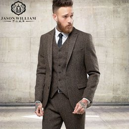 modern formal suits UK - LN125 2017 New Custom Made Tweed Suits Men Formal Skinny Wedding Tuxedo Gentle Modern Blazer 3 Piece Men Suits(Jacket+Pants+Vest